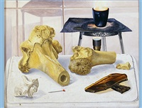 still life with fire, bones and glue by cornelius postma