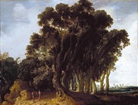 a wooded landscape with travellers resting, a shepherd tending his flock beyond by jacob van geel