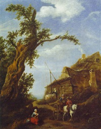 peasants on a path by a cottage by gillis rombouts