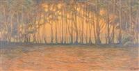 rangée d'arbres au bord de l'eau by charles repelin