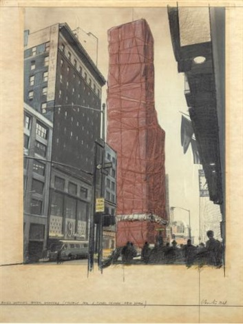 allied chemical tower wrapped project for 1 times square new york by christo and jeanne claude