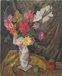 blumenstillleben mit gladiolen by walter ast