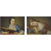 portrait of a young lady in a blue dress reading a book (+ portrait of a young lady in a red dress asleep on top of her sewing box; pair) by gaetano piattoli the elder