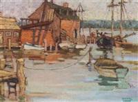 fishing boats in a harbor by yarnall abbott