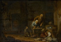 bäuerin bei der zubereitung von fischen by pieter symonsz potter