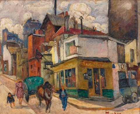 street corner with truck and portrait of a woman (recto-verso) by maria-mela muter