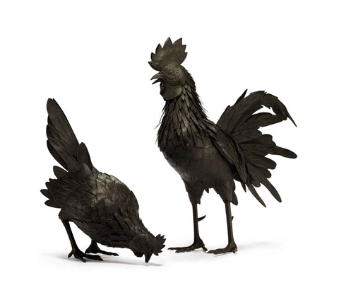 rooster and hen 2 works by tanaka tadayoshi