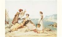un musicien et deux femmes sur la côte napolitaine by jean alaux