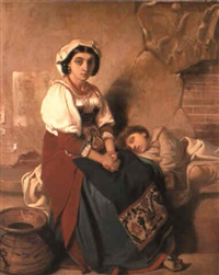 a young peasant girl with a child by victor louis mottez