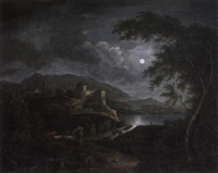 a moonlit river landscape with a cowherd on a rocky path in the foreground by jules cesar denis van loo