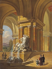 am neptunbrunnen by giovanni battista (johann baptist) pian