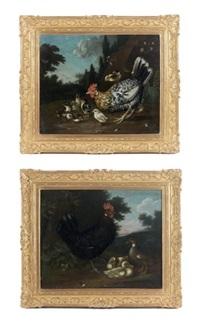 poules et canards (2 works) by gysbert gillisz de hondecoeter