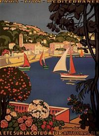 plm. l'été sur la côte d'azur. le port de saint jean cap ferrat by guillaume georges roger