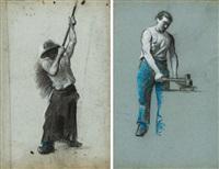 deux études pour des forgerons (2 works) by jules charles aviat