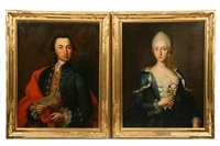 portraits of josephus casparus and maria anna de jaquemod (2 works) by andreas hölzl