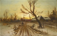 winter landscape at sunset (collab. w/studio) by yuliy yulevich (julius) klever