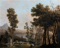 vues des environs du lac nemi by jules cesar denis van loo