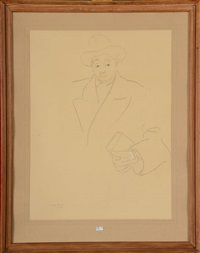 portrait d'homme au chapeau by idel ianchelevici