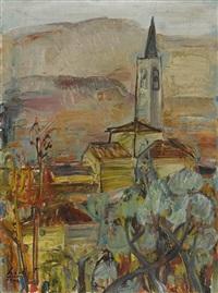 landschaft mit kirchturm by adolf herbst