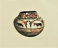 19th century zuni jar (goat design) by patricia dobson