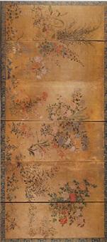 a six-fold rimpa screen by japanese school (17)