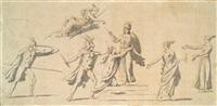 athena umgeben von vestalinnen wird von kriegern angegriffen, entwurf zu einem antikisierenden fries by jacques-louis david