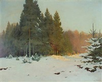 wintry landscape with rays of sunshine by vilhelm güllich