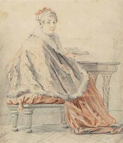a lady seated at a table by jean baptiste le prince