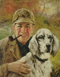 smiling hunter and dog by charles m. relyea