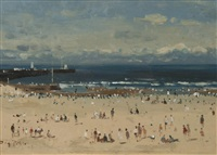 figures on the beach, gorleston by roy petley