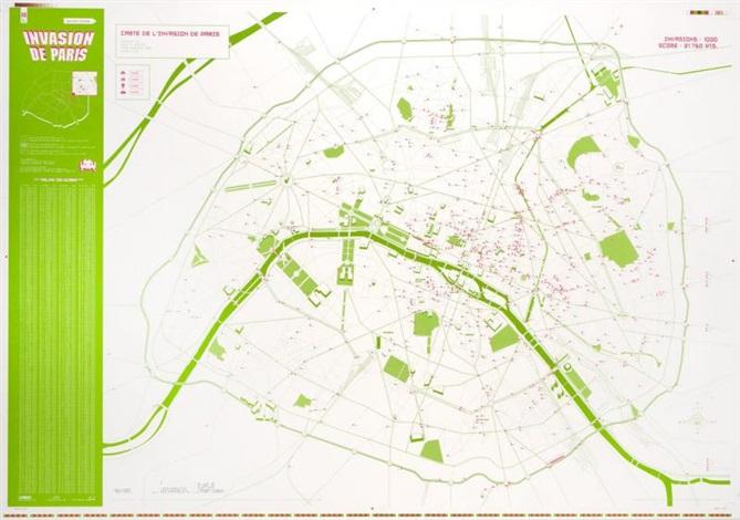 carte de linvasion de paris by invader
