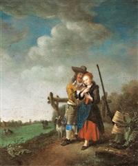 liebespaar in einer landschaft by gerrit lundens