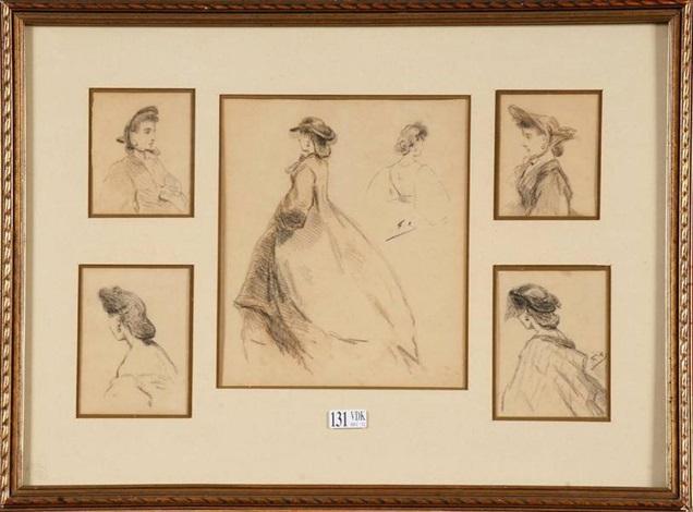 femmes au chapeau 5 studies by félicien joseph victor rops