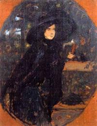 dame à la capeline noire by charles-frédéric lauth