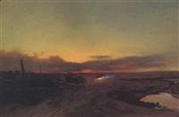zigeuner bei lagerfeuer in der puszta im abendlicht by johann gualbert raffalt
