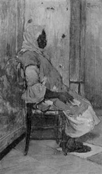 a negress seated by henry pieter edward rul