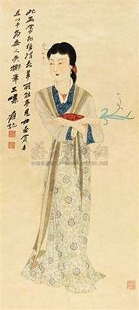 拈花仕女 (the beauty) by zhang daqian