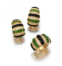 a demi-parure comprising a ring and pair of earrings (set of 2) by faraone