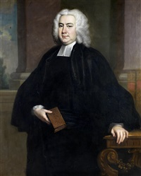 portrait of the rev. john fursman, three-quarter-length, in clerical robes, holding a book, standing before a window by thomas hudson