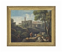 an italianate landscape with classical figures conversing, and a settlement beyond by jan frans van bloemen