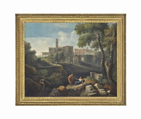 an italianate landscape with classical figures conversing and a settlement beyond by jan frans van bloemen