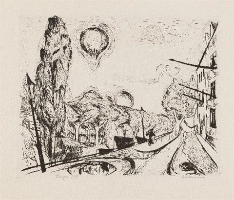 landschaft mit ballon pl14 from gesichter by max beckmann