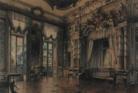 a bedroom in the tsars palace at tsarskoe selo st petersburg by luigi premazzi