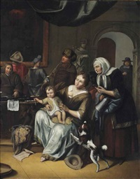a mother and child and other figures in an interior by frans decker