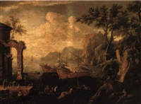 a mediterranean port with levantines on a quay by classical ruins by vicente giner