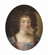 portrait of a lady, half-length, in a pink dress with blue ribbons by jakob ferdinand voet