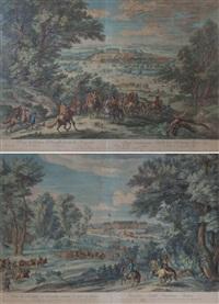 paire de vues du château de versailles (pair) by adam frans van der meulen