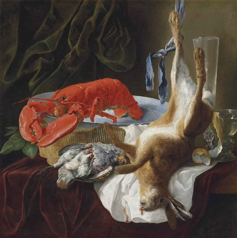 a hare a partridge a lobster and a partially peeled lemon in a roemer on a partly draped table in an interior by jan fyt