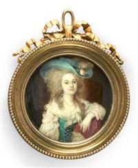 portrait de madame du barry en robe de voile blanc, corset vert et coiffée d'un important chapeau vert orné de fleurs et d'une plume d'autruche by ignazio pio vittoriano campana