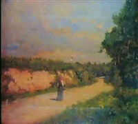 aldeana en el camino by serafín avendaño